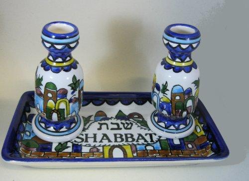 Rimmon Judaica shabat judío de candeleros, candelabros para shabbath diseño de cerámica armenio de Jerusalén
