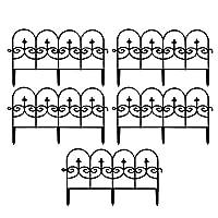 5個のスプライス可能で取り外し可能なプラスチックフェンス、装飾的な庭のフェンス、23.62 x 13インチの屋外の庭のフェンス、結婚式の装飾フェンス、庭の境界縁組