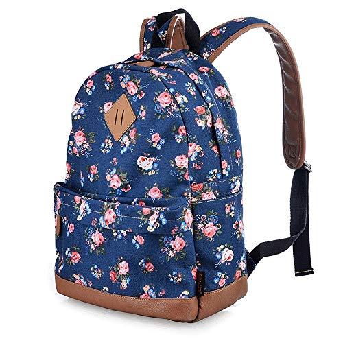SHIJIAN Sac d'école rétro Style Classique Mini Fleur Sac à Dos Mode Vintage Casual Floral Daypacks épaule Solide Sac d'école for Les Femmes et Les Filles 29.5cm * 13.5cm * 39 cm (Color : Style B)