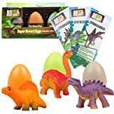 SCS Direct Animal Planet Super Grow Dinosaur Eggs 3 Pack - Dino Egg Toys Hatch and Grow to 3X Size in Water - Brachiosaurus, Spinosaurus, & Stegosaurus w Educational Fact Cards