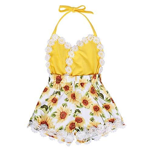 AmzBarley Bebé Niñas Floral Conjuntos de Ropa Atuendos Niños Tops Bermudas/Faldas Verano Una/Dos Pieza Mono