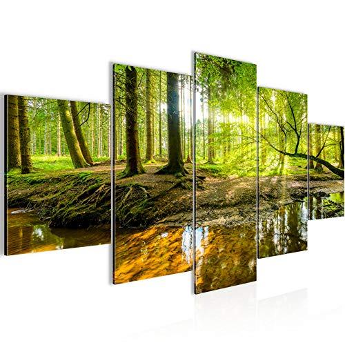 Runa Art - Bilder Wald Landschaft 200 x 100 cm 5 Teilig XXL Wanddekoration Design Grün 611751a