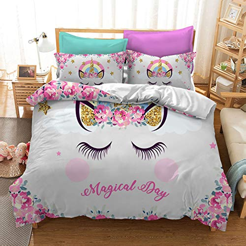 KJHYUI 3d Cartoon Horse Girl Double Duvet Cover Bedding, Pattern Printing Double Bed Supplies, A Duvet Cover That Is Easy To Clean And Maintain King (230×220cm) A