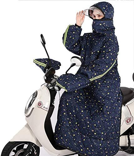 Icegrey Cubre Piernas para Moto Scooter Universal Delantal Impermeable Manta para Scooter Moto Azul floral Talla única