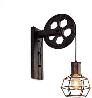 Baycheer 1 Light Wall Sconce Keyed Socket Pulley Led Industrial Wall Sconces Retro Wall Lights Fixture For Indoor Lighting Barn Restaurant In Rust Finished Amazon Com