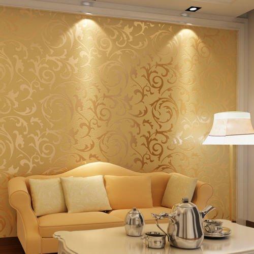 Zerone Geprägte Tapete Roll, 3D Wasserdicht Blatt Muster Selbstklebende Tapeten für Wohnzimmer Schlafzimmer, 10m x 0.53m (Gold)