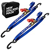Rear Transom Ratchet Strap Tie Down Kit - Made in NZ - 1' x 2.5' Heavy Duty Endless Tiedown with Floating PVC Hooks - For Trailered Boats, Jetskis & PWCs - 2,400lbs Break Strength - Pack of 2 (BLUE)