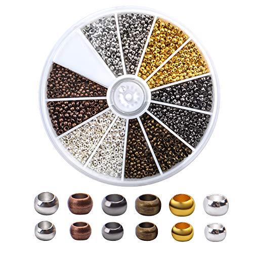 Aylifu Quetschperlen aus Metall, 2250 STK Tube Crimp Perlen 2 mm 2,5 mm Metallperlen Spacer Perlen mit Loch zum Auffädeln und Basteln - 6 Farben