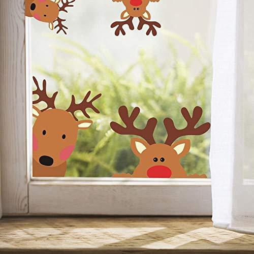 Weihnachten fenster Aufkleber   Creative Rentier Fensteraufkleber   Kinderzimmer Wandaufkleber   Auto aufkleber Home Dekorationen   Rudolph-Elch Weihnachtsdekoration 10 Stuck (Rentier Aufkleber)