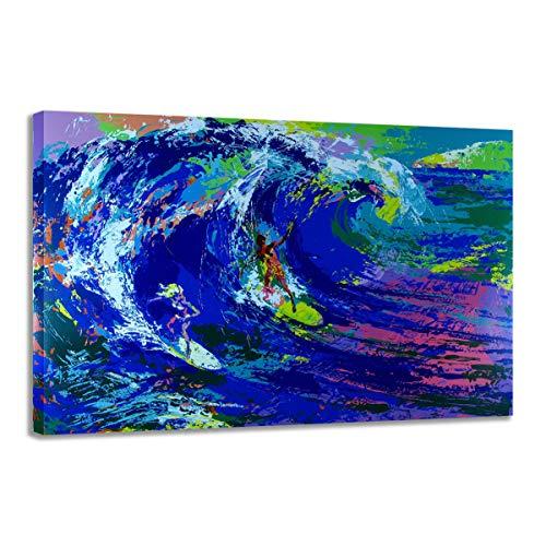 Aquarell Meereswelle abstrakt Hawaii Surfen Leinwand Malerei Bild HD-Druck Raum Wandkunst Dekoration Poster 50x70cm (20x28in) Rahmenlos