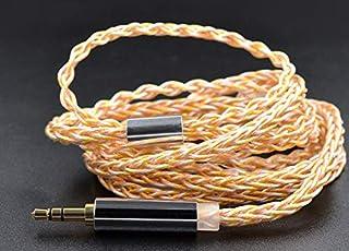 FAAEAL Cable para auriculares KZ de 3,5 mm, oro plateado, cobre, 560 núcleos, cable de repuesto trenzado para auriculares KZ ZSN ZS10 PRO ZSX ASF y ASX