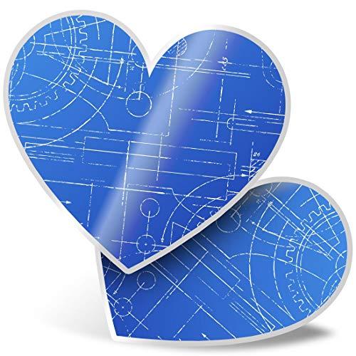 Impresionante 2 pegatinas de corazón de 7,5 cm – Plan técnico divertido divertido divertido calcomanías para portátiles, tabletas, equipaje, libros de chatarras, neveras, regalo genial #2384