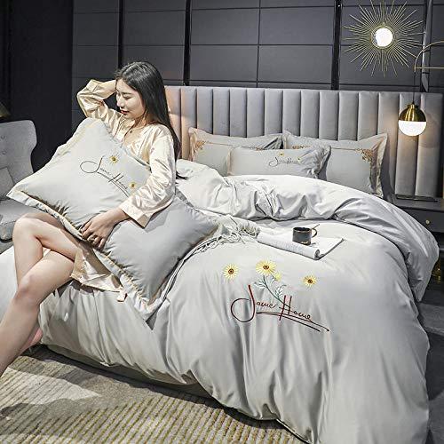 juego de fundas de edredón y de almohada de microfibra,Muelle y verano lavado de agua seda rosa juego de doble cara hoja de cama desnuda botín de funda de almohada Suministros de cama Día de la madre