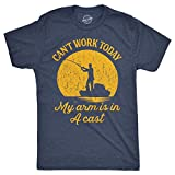 "Tshirt with ""Can't work today, my arm is in a cast"" for fishing"