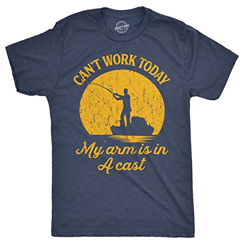 Mens Can't Work Today My Arm is in A Cast T-Shirt Funny Fishing Fathers Day Tee (Heather Navy) - XL