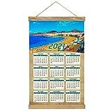 España Roque Nublo Las Palmas Gran Canaria Imprimir Póster Calendario de Pared 2021 12 Meses Pintura decorativa Cuadros Colgantes Lienzo Madera 20.4 'x 13.1' GL-Spain-5415