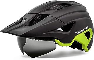 VICTGOAL Fietshelm MTB Sporthelm voor Volwassenen LED Achterlicht Lichte Helm met Magnetische Bril Afneembaar Vizier Verst...