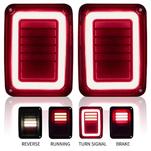Upgraded Jeep Wrangler JK LED Tail Lights Smoked for 07-18 Jeep Wrangler Reverse Light Turn Signal Lamp Running Lights, 1 Year Warranty