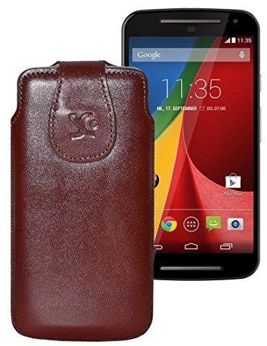 Original Suncase Tasche für / Motorola Moto X 2014 (2. Generation) / Leder Etui Handytasche Ledertasche Schutzhülle Hülle Hülle / in braun
