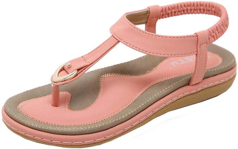 Jun Women's Wide Width Flat Sandals - Gladiator Elastic Back Zipper Casual Summer shoes (color   Pink, Size   7.5 M US)