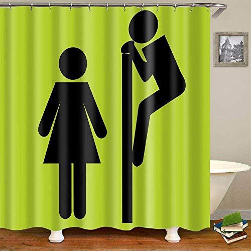ZSQQSCL Duschvorhang,Moderne Cyan Cartoon Männer Und Frauen Bilder Duschvorhang,Mit 12 Duschvorhangringen,100prozent Polyester, Antischimmel,Wasserabweisend, Waschbar, Für Zuhause Badezimmer Hotel