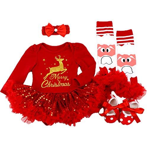 BabyPreg Neonate Il Mio Primo Natale Babbo Costume del Partito del Vestito 4PCS (6-9 Mesi, Cervo Rosso&Veloce)