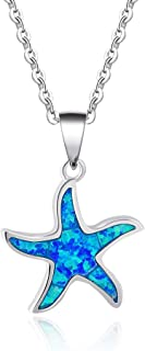 Ocean Collection 925 Sterling Silver Cute Dolphin/Seahorse/Starfish Blue Created Opal Pendant Necklace Mother's Day Gifts October Birthstone Jewelry for Women Girls 18