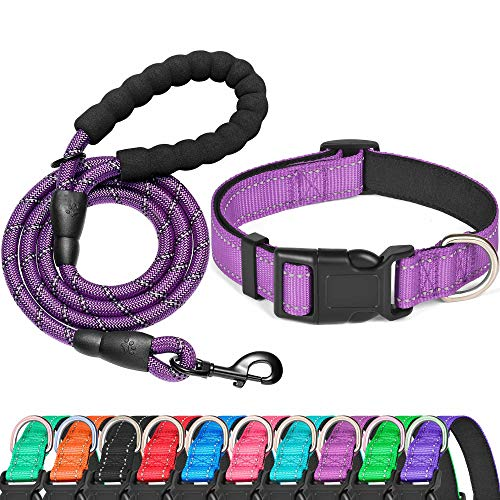 Ladoogo Reflective Dog Collar Padded with Soft Neoprene Breathable Adjustable Nylon Dog Collars for Small Medium Large…
