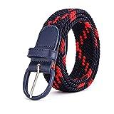 UNDERZY Cinturon Hombre Trabajo Cinturón De Hombres Y Mujeres Elástico Elástico Targa Casual Cinturón De Ventilación Cinturón De Punto-Doblado Ajustado Rojo Tres Curvas_105Cm