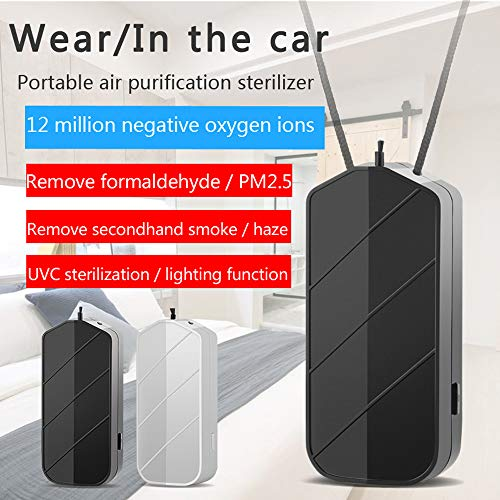 KAIXIN Air Purifier Hanging Neck Necklace Mini Negative Ion Generator for Odor Eliminator Remove Smoke Dust Anion,Black