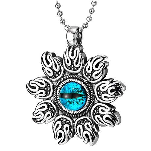 COOLSTEELANDBEYOND Steel Men Women Flame Fire Sun Blade Blue Evil Eye Protection Vintage Pendant Necklace, 30 in Chain