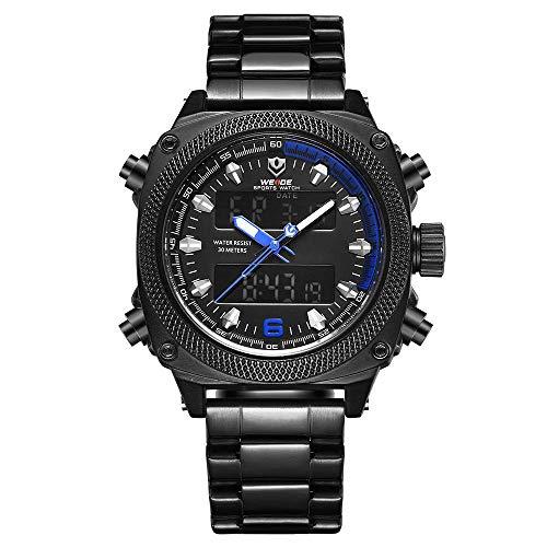 WH7302 Reloj electrónico digital de cuarzo Hora dual Calendario de alarma Cronómetro 3ATM Temporizador impermeable Hombres de negocios Moda Casual Deportes al aire libre Reloj de pulsera masculino