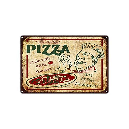 Now That's A Pizza Made with Real Tomato and Fresh Mozzarella Lámina de Metal Retro para Bodega de Bodega casera Tienda de decoración del hogar