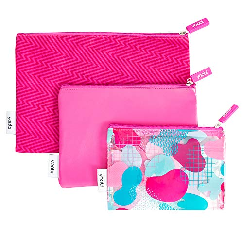 Yoobi Clear Zipper Pouch Set | 3 Piece | Fun Pink Ziggy Printed PVC | for Travel, School, Office Use, Model:15ACFRHNAM