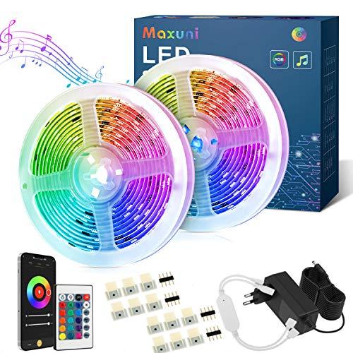 Maxuni Tira Led 20m-Tira Led RGB Musical Con Sensor de Sonido Sensible Integrado -Control de APP y Mando a Distancia, Tira de Luces Led USB para TV, Salón, Dormitorio etc. (20m)