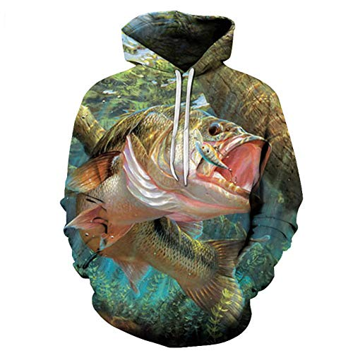 YJDSZD Sudadera con Capucha con Estampado 3D de Moda Sudadera con Capucha Hipster Manga Larga Outwear Novedad Unisex Talla Grande Patrón de Anzuelo de Pesca de mar Profundo cómico Imprimir