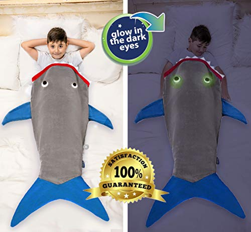 """Product Image 7: Blankie Tails   Shark Blanket, New Shark Tail Double Sided Super Soft and Cozy Minky Fleece Blanket, Machine Washable Wearable Blanket (56"""" H x 27"""" (Kids Ages 5-12), Glow in The Dark – Gray & Blue)"""