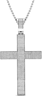 0.73 Carat (ctw) Round White Diamond Mens Hip Hop Religious Cross Pendant 3/4 CT, Sterling Silver