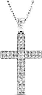 Dazzlingrock Collection 0.73 Carat (ctw) Round White Diamond Mens Hip Hop Religious Cross Pendant 3/4 CT, Sterling Silver
