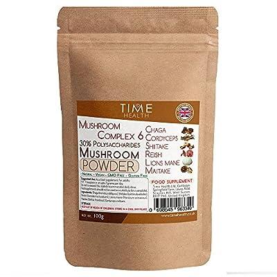 Mushroom Complex 6 Powder ? Chaga, Cordyceps, Shiitake, Reishi, Lions Mane, Maitake ? Boost Memory, Focus, Immunity & Energy ? 30% Polysaccharides ? Add to Coffee (100g Powder Pouch)