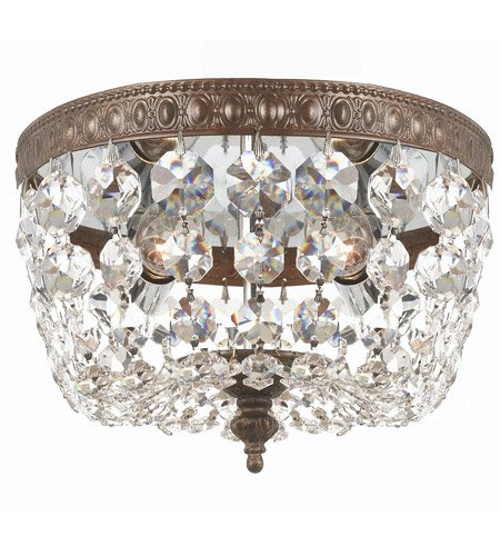 Flush Mounts 2 Light With English Bronze Clear Swarovski Strass Crystal Cast Brass 8 inch 120 Watts - World of Lighting