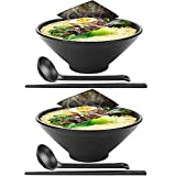 LXZSP Tazones japoneses para Ramen, 2 Juegos de 42 onzas de melamina, vajilla de plástico Duro, tazón para Sopa para Fideos con Palillos y cucharas a Juego Tazón Grande para Fideos, Udon, Soba, Ph