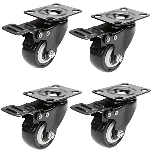 HAUSEE 4 x Lenkrollen mit Bremse Schwenkrollen Tragkraft 200kg 2