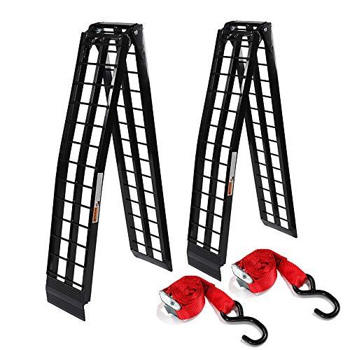 2 Pcs 9 ft Portable Folding Loading Ramps fit for Lawn Mower ATV UTV Motorcycle Truck Ramp (1200Lb Capacity Black Aluminum)