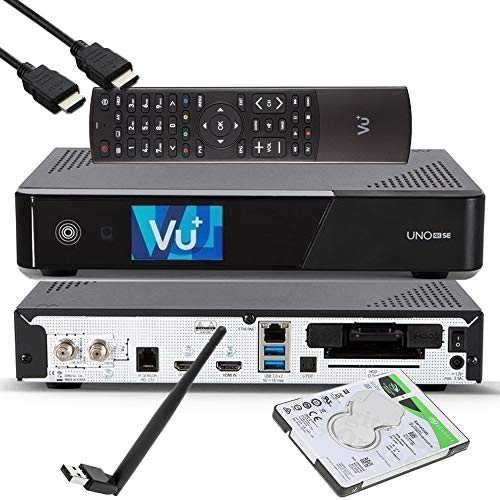 VU+ UNO 4K SE - UHD HDR 1x DVB-S2 FBC Sat Twin Tuner E2 Linux Receiver, YouTube, Satellit Festplattenreceiver, CI + Kartenleser, Media Player, USB 3.0, + EasyMouse HDMI-Kabel, 1TB HDD, 150 Mbit WiFi