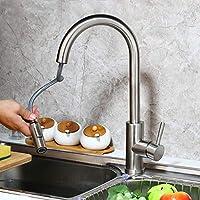 MEIXRJキッチン蛇口ニッケルブラシゴールデンスイベルローテーションキッチン洗面器シンクタップ引き出し式固体蛇口360スイベルスプレーキッチンウォーターミキサー、ニッケルブラシ