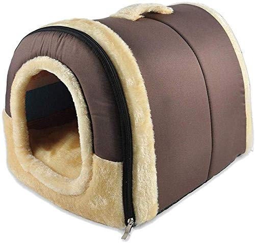 LUCKY 2 In 1 Pet House And Sofa, Brown Machine Washable Non-slip Foldable Soft Warm Dog Cat Puppy Rabbit Pet Nest Cave Bed House With Removable Cushion Detachable Mattress (Size : S)