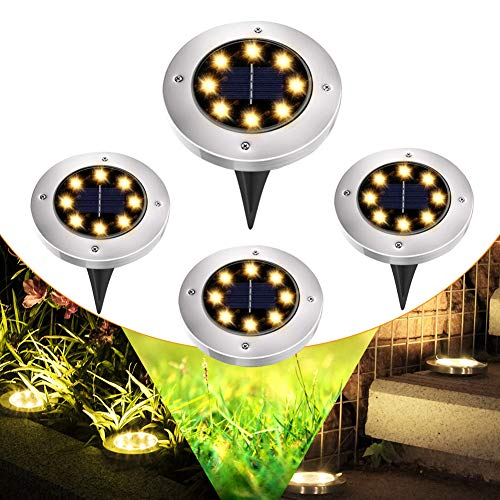4 Stück LED Solar Gartenleuchten Bodenleuchte warmweiss Solarleuchte für Garten Außenleuchte 8 LEDs Wasserdicht LED Solar Path Lights Landschaft Beleuchtung für Yard Auffahrt Rasen Pathway