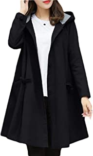 Womens Winter Pea Coat Hooded Jacket Single-Breasted Blend Trench Coat