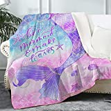 """Bonsai Tree Mermaid Blanket, Mermaid Tail Scales Fuzzy Soft Warm Sherpa Throw Blanket Gifts for Girls Women, Cute Pink Purple Crystal Velvet Fleece Plush Blanket for Couch Bed Living Room, 50""""x60"""""""
